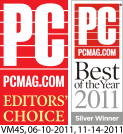 PC Mag Editor's Choice and Best of the Year two thousand and eleven awards